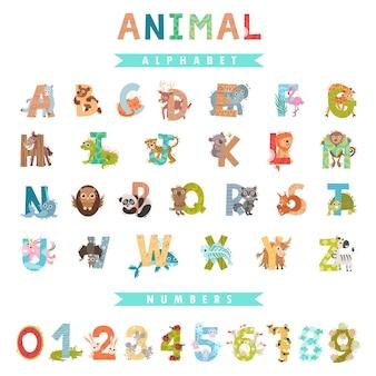 Ganzes englisches alphabet und zahlen mit tieren