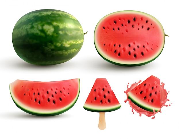 Ganzes halbes viertelsegment der reifen saftigen wassermelone und mundgerechte stücke auf stock realistischem satz