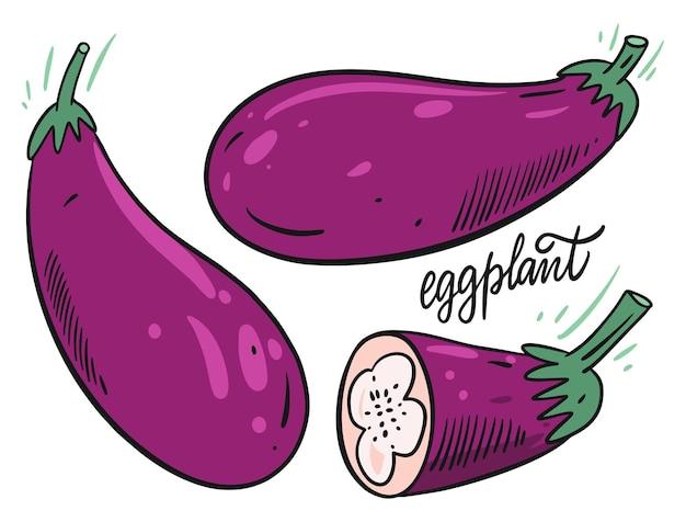 Ganzes und geschnittenes auberginenset. handgemalt Premium Vektoren