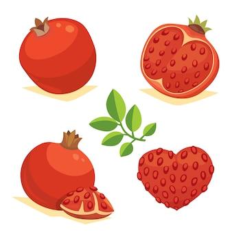 Ganzes und geschnittenes granatapfel-symbolset. karikaturgesundheitsfruchtherz isolierte vektorillustration. vegeterian vegane diätnahrung. reif