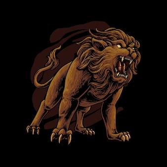 Ganzkörper-löwen-illustration
