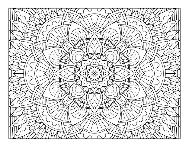 Ganzseitiges mandala-design ausmalen