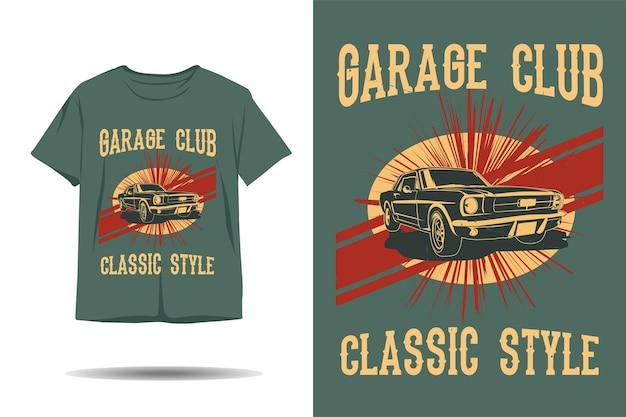 Garage club silhouette-t-shirt-design im klassischen stil