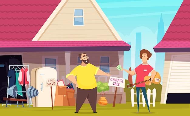 Garage, die modekleidung im freienplatz mit gebrauchten büchern, spielzeug und möbeln verkauft