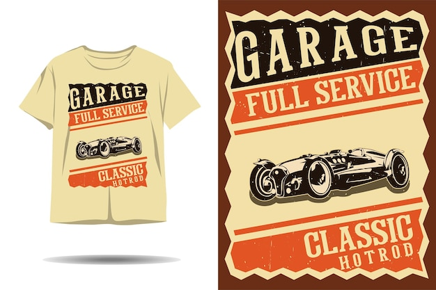Garage full-service klassisches hot-rod-silhouette-t-shirt-design