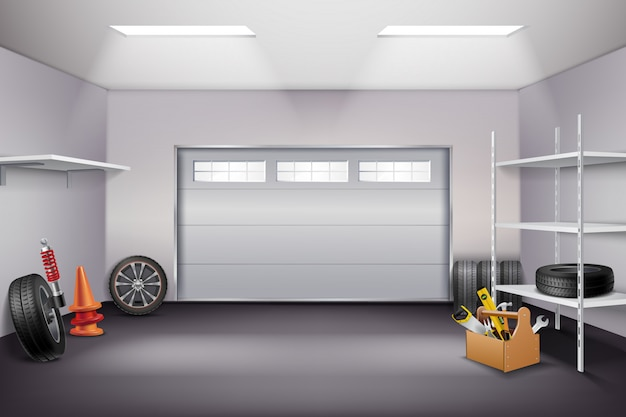 Garage interior realistische komposition