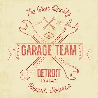 Garage service vintage abzeichen