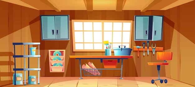Garageninnenraum mit werkbank und werkzeug