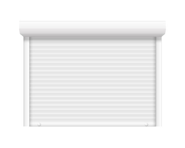 Garagentor geschlossene rolle stahl ladenfenster vektor realistische schloss ladentür