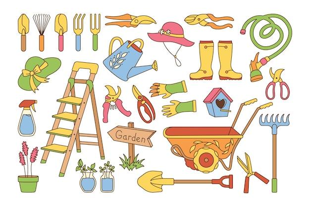 Garden village linie cartoon set birdhouse rustikale trittleiter gummistiefel rechen und handschuhe schaufel gartenschere gartenwagen hut gießkanne