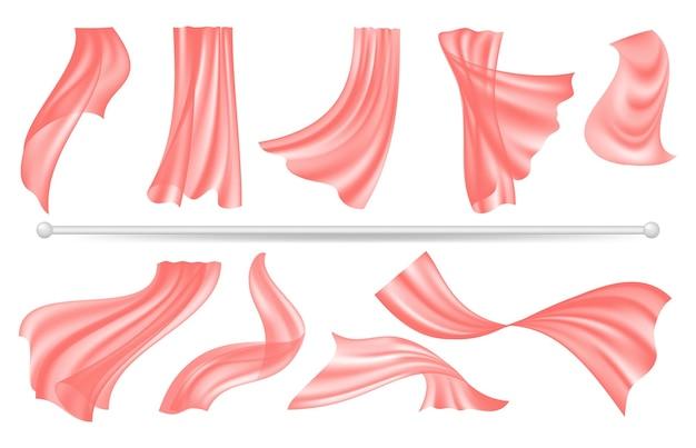 Gardinenstange und fenstertextildekoration. roter transparenter stoff der fliegenden seide, realistische isolierte innenarchitekturelemente.