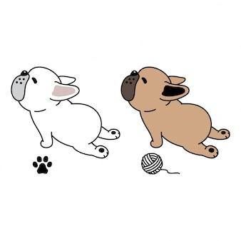 Garn-ballkarikatur der tatze der französischen bulldogge