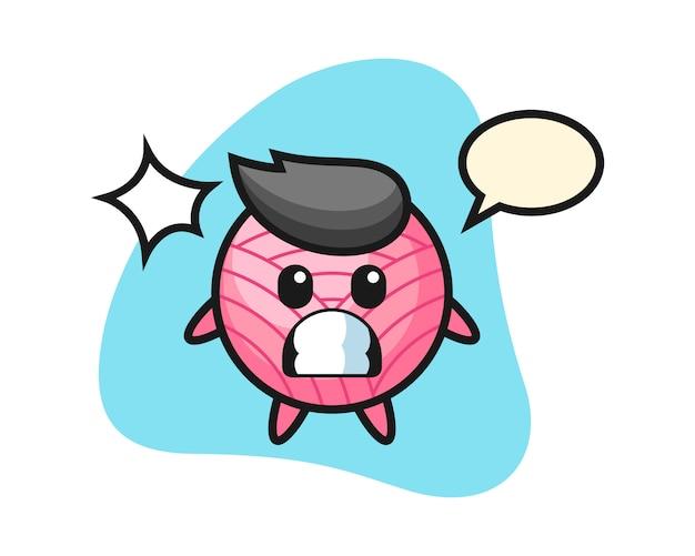 Garnball-karikatur mit schockierter geste