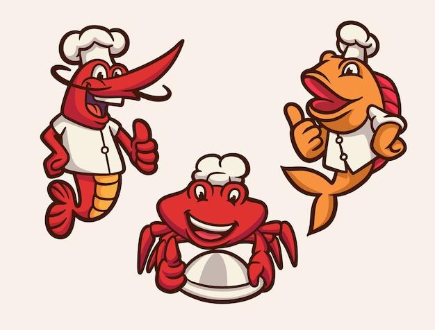 Garnelen, fisch und krabben werden zum maskottchen-illustrationspaket des chef-tierlogos
