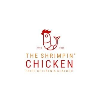Garnelen- und hühnerlogoillustration