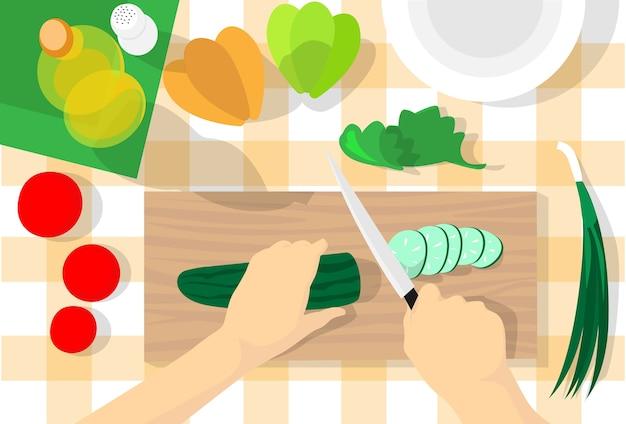 Garprozess-tisch-küche, die gemüse hackt