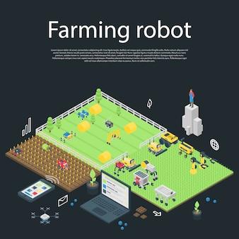 Garten, der roboterkonzeptfahne, isometrische art bewirtschaftet