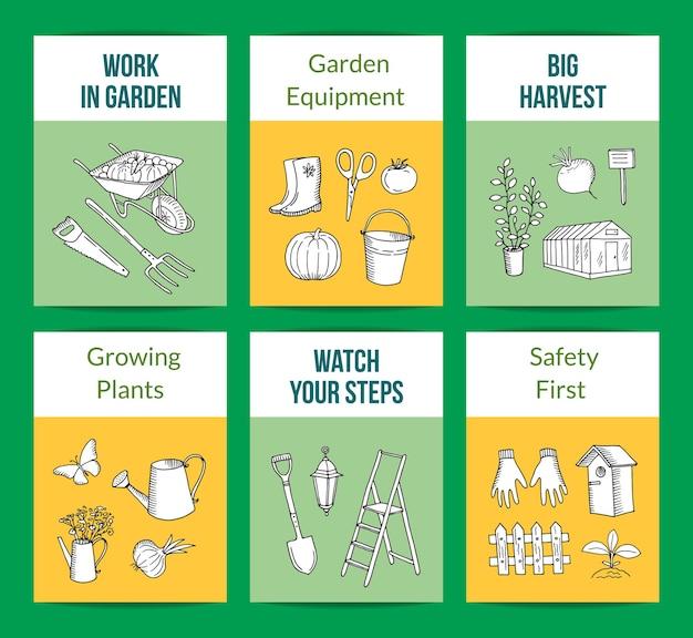 Garten gekritzel ikonen kartenvorlagen set illustration. wachsender erntegarten, schutzhandschuhe und trittleiter