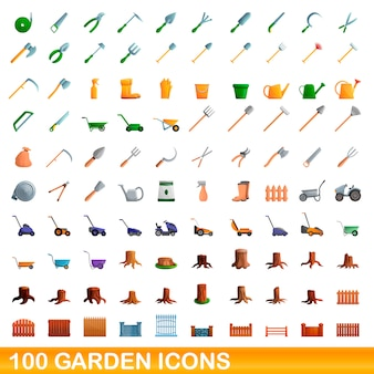 Garten icons set, cartoon-stil
