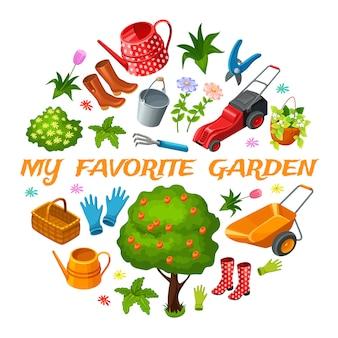 Garten isometrische elemente.