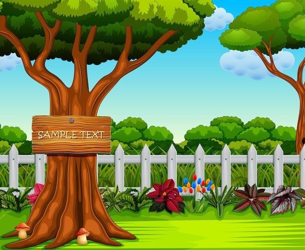 Garten mit dem brett text und viel busch