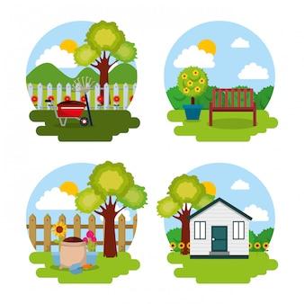 Garten natürliches thema baum blumen hausbank und werkzeuge