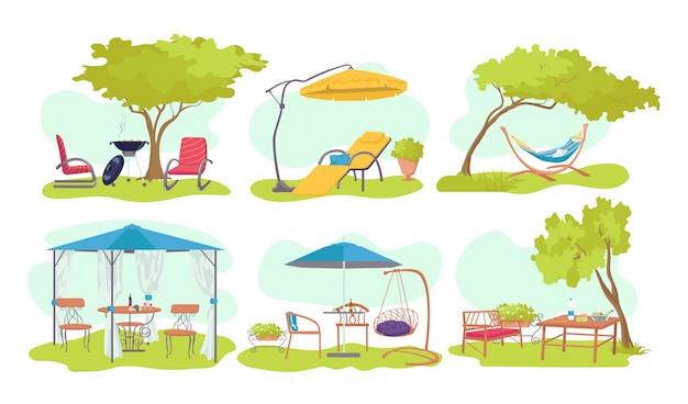 Garten outdoor holzmöbel set, illustration. sommerhaus am naturhintergrund, regenschirm, stuhl am haushinterhof. grüner picknick-terrassentisch, bank, moderne pflanzenlandschaft.