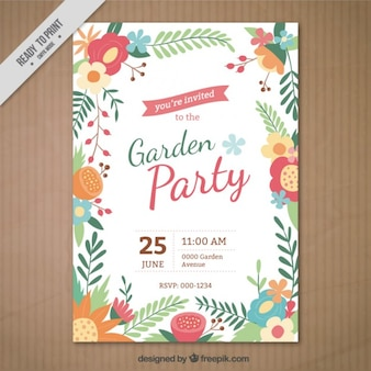 Garten-party einladung mit einem floralen rahmen