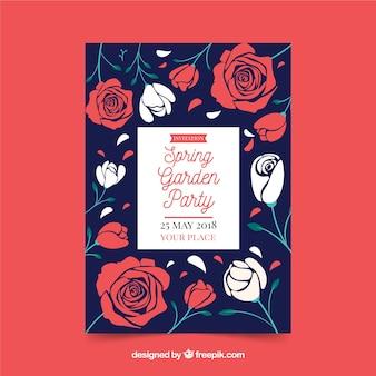 Garten party einladung vorlage mit rosen