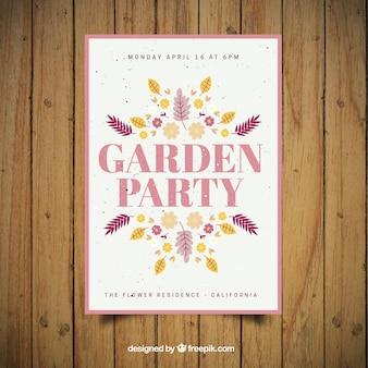 Garten-party-flyer mit hand gezeichneten blätter und blüten