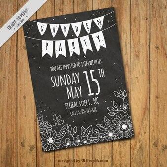 Garten-party-karte mit blumen in tafel stil