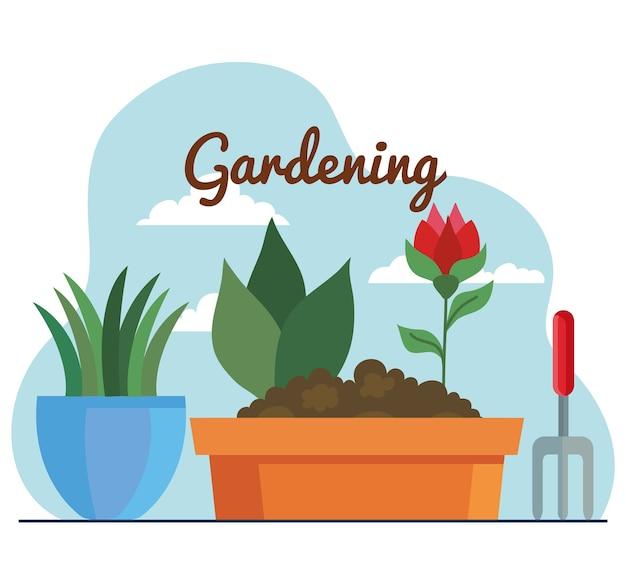 Garten rechenpflanzen und blume in töpfen design, gartenpflanzung und naturthema