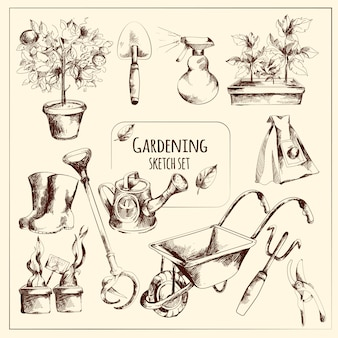 Garten-skizze-set