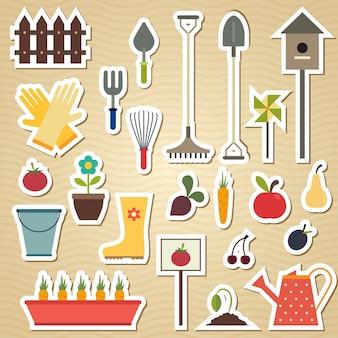 Garten- und gartenarbeitwerkzeugikonensatz