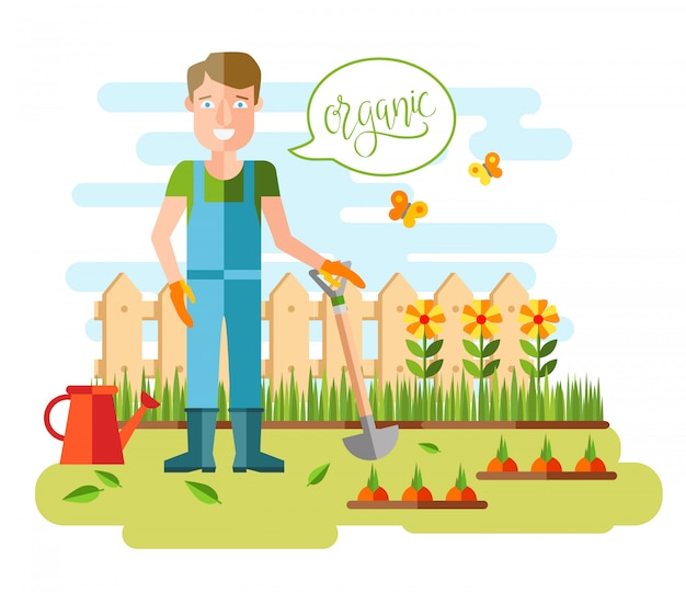 Garten- und gartenbau, hobbygeräte, gemüsekisten und pflanzen.