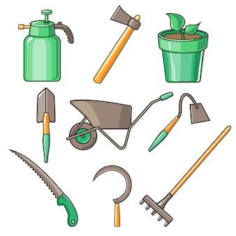 Garten werkzeuge flache design illustration