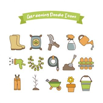 Gartenarbeit doodle icons