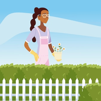 Gartenarbeit, frau mit blumen in topfbüschen und zaungartenillustration