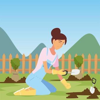 Gartenarbeit, frau mit kelle, die verschiedene baumillustration pflanzt