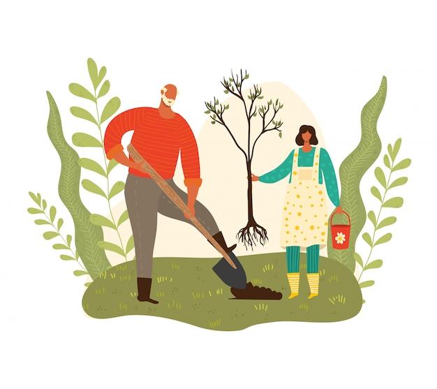 Gartenarbeit, großvater und enkelinmädchen, das baum pflanzt, ökologie, grüner planet, wachsende bäume, karikaturillustration erntend. nette charaktere, kreative personensammlung.