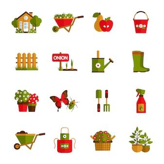 Gartenarbeit-ikonen eingestellt