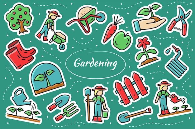 Gartenarbeit im zusammenhang mit aufklebern set. vektor-illustration.