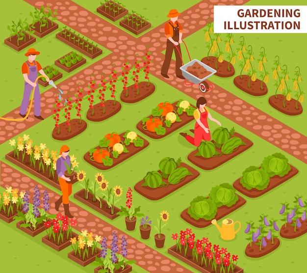 Gartenarbeit isometrische zusammensetzung