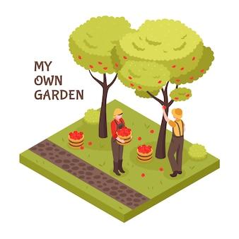 Gartenarbeit isometrisches konzept