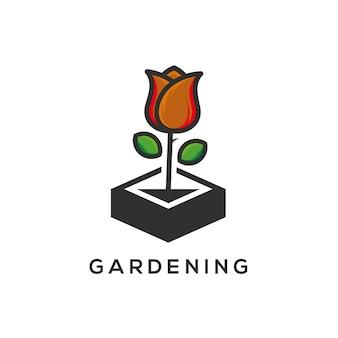 Gartenarbeit logo vorlage vektor-illustration