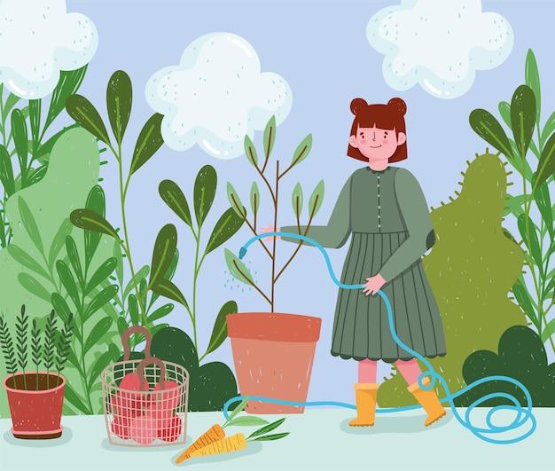 Gartenarbeit, mädchen sprüht wasser auf eine pflanze mit schlauch, carrtos tomaten ernte illustration