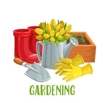 Gartenarbeit mit blumen Premium Vektoren