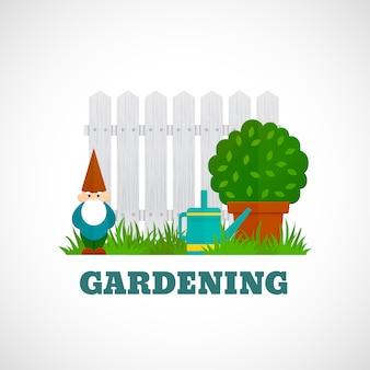 Gartenarbeit-plakat flach
