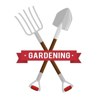 Gartenarbeit set werkzeuge symbole