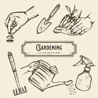 Gartenarbeit skizze illustration